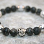 Black network stone and snow quartz stacking stretch bracelet with sterling silver bead accent