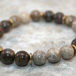 Fossil coral and brown snowflake jasper stacking stretch bracelet with brass spacers