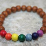 Rainbow wood bead stretch stacking bracelet