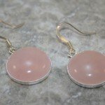 Round rose quartz stone cabochon in silver plated bezel drop earrings