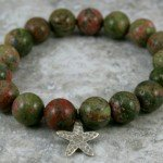 Unakite stacking stretch bracelet with a Hill Tribes fine silver hammered starfish charm