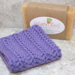 Gift set with a purple cotton crocheted wash cloth and one handcrafted bar of soap of your choice