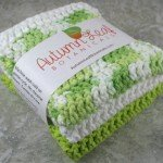 Cotton crocheted large washcloth (or dishcloth) set in lime green, white, and a key lime mixed green and white blend