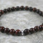 Brecciated jasper stacking stretch bracelet with sterling silver accent