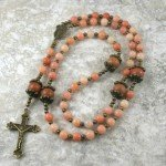 Red aventurine, tiger jasper, and antiqued brass rosary in the Roman Catholic style
