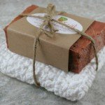 Gift set with a white crocheted wash cloth and one handcrafted bar of soap of your choice