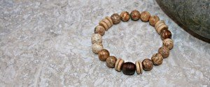Picture jasper stacking stretch bracelet with carved rosewood focal bead