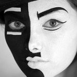 black and white mask face