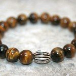Tigereye stacking stretch bracelet with antiqued sterling silver corrugated oblong focal bead