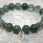 Moss agate stacking stretch bracelet with Hill Tribes fine silver roundels and leaf charm