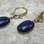 Lapis lazuli stone cabochon and antiqued brass drop earrings