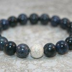 Blue dumortierite stacking stretch bracelet with stardust sterling silver focal bead