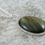 Labradorite cabochon pendant in a solid sterling silver bezel on sterling silver chain