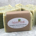 Evergreen hot process soap bar