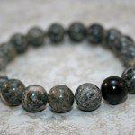 Spiderweb jasper and black tourmaline stacking stretch bracelet